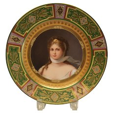 Royal Vienna Style Hand Painted Porcelain Cabinet Plate, Queen Louise. circa 1900