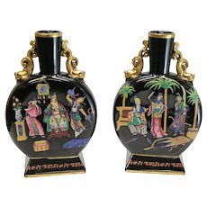 Pair Chinoiserie Glass & Enamel Hand Painted Moon Flasks, c1890. Attrib to Moser