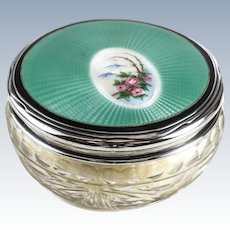 Foster & Bailey Sterling Silver Guilloche Enamel & Cut Crystal Glass Powder Jar, circa 1900