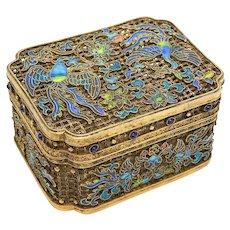 Chinese Gilt Silver Filigree Enamel & Semi-Precious Stone Potpourri Box, circa 1900