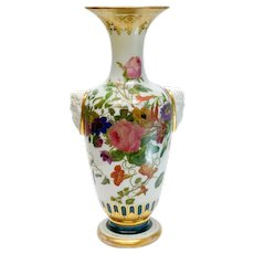 Baccarat White Opaline Glass Vase, Hand Painted Flowers, Molded Profile Heads