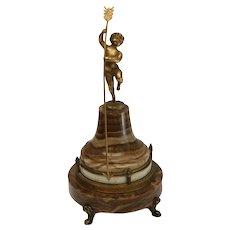 Ateliers Juvenia French Gilt Bronze Putti Onyx Annular Rotary Clock, circa 1925