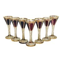 7 Moser Cabochon & Raised Gilt Garnet Red to Clear Glass Claret Wine Goblets