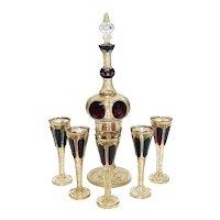 Moser Cabochon & Raised Gilt Garnet Red to Clear Glass Liquor Set for 5, circa  1900