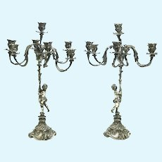 Ornate Pair Buccellati Sterling Silver 7-Light Cherub Candelabras, circa 1950