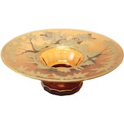 Bohemian Amber Art Glass Centerpiece Bowl, circa 1900. Silver & Gilt Accents