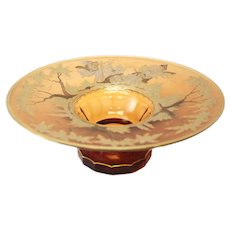 Bohemian Amber Art Glass Centerpiece Bowl, circa 1900. Silver & Gilt Accents