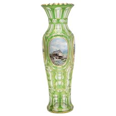 German Bohemian Moser Green Art Glass & Hand Painted Porcelain Plaque Vase c1900