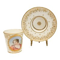 Incredibly Fine Sevres Porcelain Cup & Saucer, Goblet et Sou Coupe Enfonce 1759