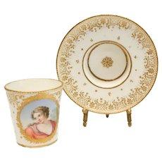 Incredibly Fine Sevres Porcelain Cup & Saucer, Goblet et Sou Coupe Enfonce 1759