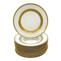 12 Tiffany & Co. Porcelain Gold Trim 9 inch Plates, Mid Century