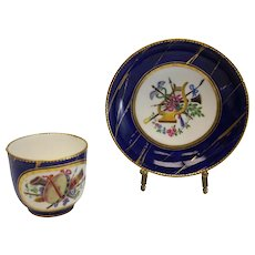 Sevres Hand Painted Porcelain Cup & Saucer Charles Buteux , 18th Century 1758
