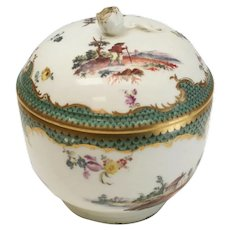 Furstenberg Hand Painted Porcelain Round Lidded Box, circa 1755