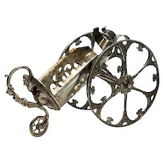 Continental Silverplate Wine Bottle Caddy, Rotating Wheels