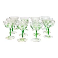 12 Exquisite Continental Hand Blown 4.5 inch / 4 fl oz Wine Goblets, Mid Century