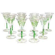 12 Exquisite Continental Hand Blown 4.5 inch / 4 fl oz Wine Goblets, Mid Century
