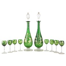 Bohemian Green Art Glass Decanter and Cordial Glasses for 8, circa 1930