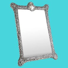 Fine English Victorian Sterling Silver Leather & Wood Mounted Table Mirror, 1903