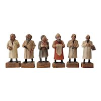 6 Vintage Austrian Handcarved & Painted Wood Figurines, Various Professions