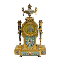 Tiffany & Co. French Champleve Enamel GIlt Bronze Repeater Clock, circa 1900