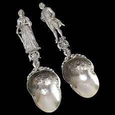 French Sterling Silver King Louis XVI & Marie Antoinette Serving Spoons, 19th C