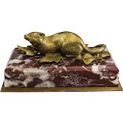 Continental Gilt Bronze Mouse Figurine Mounted Marble Base & Bronze Underplate, circa 1900