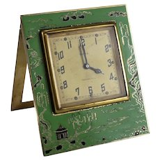 Stunning Tiffany & Co. Gilt Sterling Silver and Enamel Desk Travel Clock