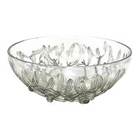 Rene Lalique France Gray Patina Cut Glass Gui Centerpiece Bowl, Mistletoe Leaves