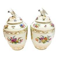 Pair Berlin KPM German Porcelain Hand Painted Urns, 19th Century