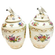 Pair Berlin KPM German Porcelain Hand Painted Urns, 19th Century