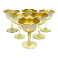 6 Louis Comfort Tiffany LCT Gold Favrile Translucent Iridescent Wine Goblets