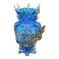 Stevens and Williams Stourbridge Blue Art Glass Footed Vase, Applied Lizard