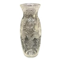 Large Stevens and Williams English Cut Glass Vase, Leaves and Flowers, circa 1910