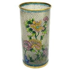 Chinese Plique-à-jour Enamel Vase, Floral Designs