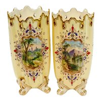 Pair Coalport England Porcelain Hand Painted Enamel Miniature Footed Vases c1885