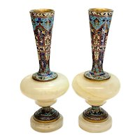 Pair French Champleve and White Onyx Gilt Bronze Footed Vases, circa 1900