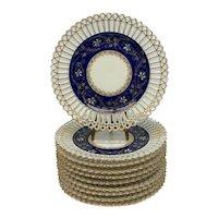 10 German Porcelain Cobalt & Gilt Reticulated Dessert Plates, circa 1920