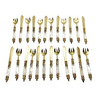 Lazarus Posen German Gilt 800 Silver Mother of Pearl Fork and Knife Set for 12