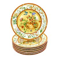 7 Hermes Paris Porcelain 7.5 inch Dessert Plates in La Siesta