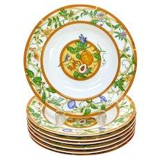 7 Hermes Paris Porcelain Rimmed Soup Bowls in La Siesta