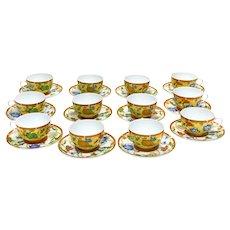 12 +1 Hermes Paris Porcelain Cup & Saucers in La Siesta