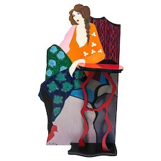 Itzchak Tarkay (Israeli) Metal & Wood, Acrylic Painting Wall Sculpture c1990