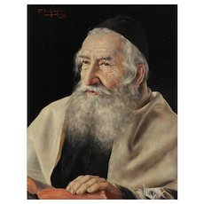 Otto Eichinger (Austrian 20th C) Oil on Panel Portrait Painting of a Rabbi