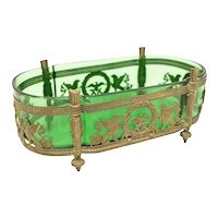 French Green Art Glass & Metal Empire Style Centerpiece Bowl, Early 20th C