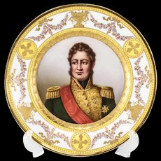 Royal Vienna Style Hand Painted Cabinet Plate Louis Philippe, King of France, circa 1900