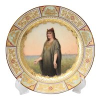 Royal Vienna Style Hand Painted Porcelain Cabinet Plate, circa 1900, Signed