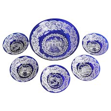 Venetian White Lace Enameled Glass Berry Bowl Service for 5, circa 1940