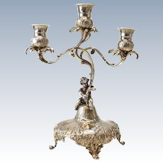 Stunning Antique Dutch 835 Silver 3-light Candelabra, 19th C. Figural Cherub