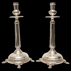 Pair Camusso Industria Peruana Sterling Silver Footed Candlesticks, circa 1930
