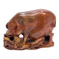 Chinese Hand Carved Red Stone Pig Figurine 19th Century